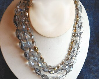 Vintage Faceted Heavy Cut Crystal Multi-Strand Necklace - Triple Strand Mid-Century Cut Glass Beads - Gold Sheen - 1950s Very Sparkly