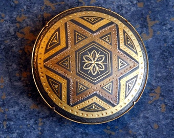 Vintage Round Toledo Damascene Brooch with Six-Pointed Star - Large Black, Gold & Silver Pin - Old Spanish Damascene Star of David - Moorish