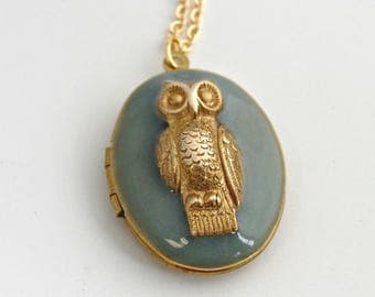 Owl Locket Necklace Vintage Lockets Necklaces Owls Bird Jewelry Feather Feathers Animal Pendants Gold Blue Unique Photograph Gifts Custom