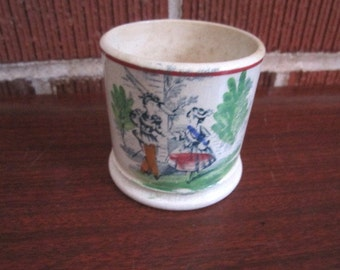 Antique Charming Staffordshire Transferware Childs Mug with Boy and Girl Transfer Design