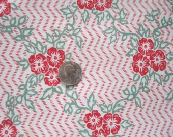 Vintage 1930s/40s Full Cotton Feedsack Feed Sack-Red Green Floral No.6