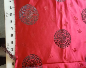 Cherry Red and Black Brocade with Geometric and Asian symbols 1-3/4yd