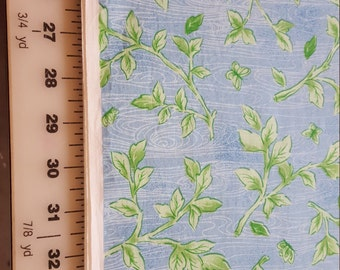 Cotton Green Ivy Leaves on blue background Just under 2yds