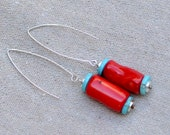 Red Coral Turquoise Earrings. Silver Sterling Earrings. Large Coral Barrel Hoops. Contemporary Boho Earrings. Bohemian Jewelry.