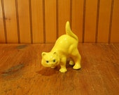 Yellow Stoneware Cat Figurine