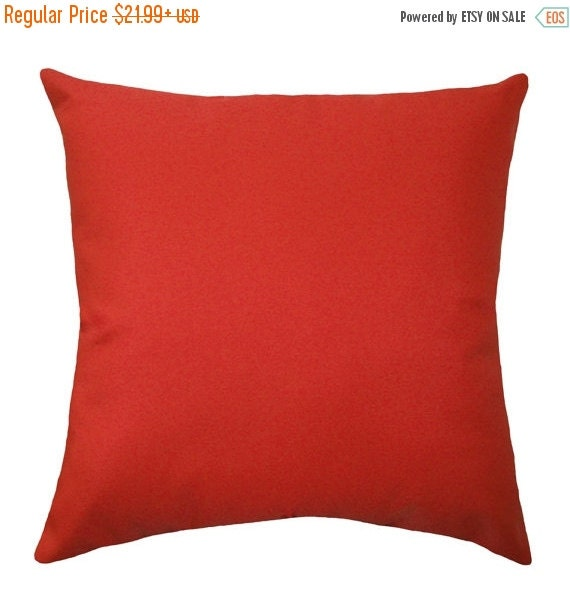 20% SALE Richloom Solarium Solar Cherry Red Outdoor Decorative Pillow - Solid Red Throw Pillow - Free Shipping
