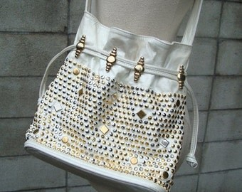 Studded Leather Purse Vintage 1980s White Studs Gems Jeweled