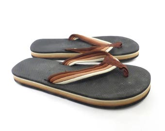 1980s Flip Flops Vintage Sandals Brown Black Stripe Foam 80s Eighties Thick