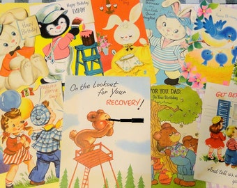 Birdies Bears Bunnies and Children Send Adorable Greetings in Vintage All Occasion Lot No 204 Lot of 12 Birthday Mothers Day Etc