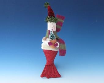 Mermaid ORNAMENT, Mermaid Doll Ornament, Ornaments, Primitive Mermaid, Mermaid