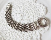 Sterling Silver Chunky Chain Link Bracelet Retro Statement 925 Italy Jewelry