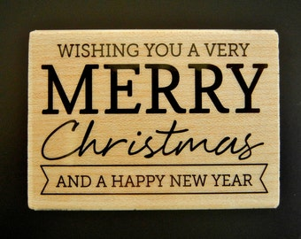 Wishing You A Very MERRY CHRISTMAS And A Happy New Year Hero Arts Wood Mount Rubber Stamp
