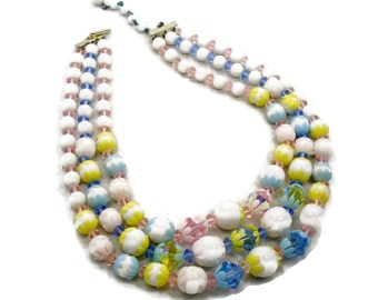 Pastel Necklace, Triple Strand, White Pink, Yellow Blue, Flowers, Vintage Necklace, Mad Men, 1960s, 1950s, 60s, 50s, Retro, Vintage Jewelry
