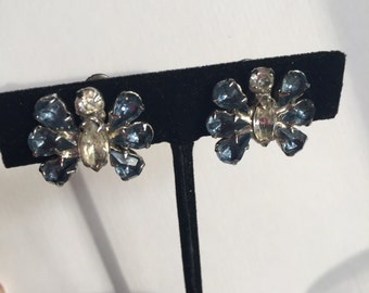 Vintage Earrings with Blue Rhinestones - Clip Ons