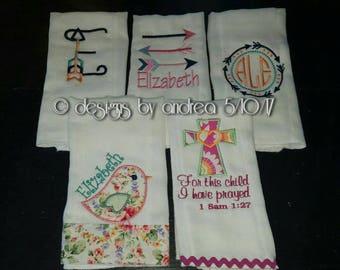 Burp Cloths - Custom Made - Monogram - Applique
