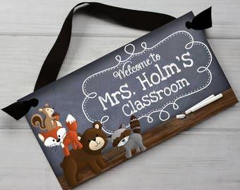 Teacher Chalkboard Classroom Woodland Critters DOOR SIGN Teacher End of Year Christmas Present Gift Tds028
