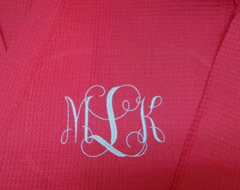 Coral Robes, Bride, Bridesmaid robes personalized robes monogrammed or name on front waffle weave short robe Maid of Honor, Flower Girl