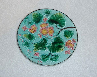 Antique Majolica Plate Vintage Turquoise Blue Leaves Pink Flowers U&C S French France Sarreguemines