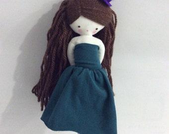 Teresa,  handmaderag doll - cloth art rag doll green dress and top hat