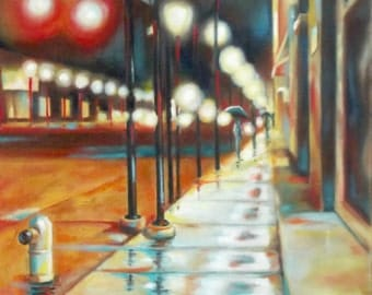 night city lights oil painting