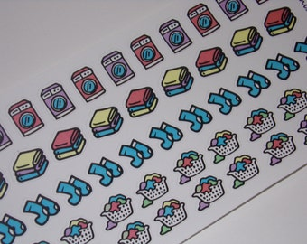 54 Laundry Stickers / Chore Stickers / Planner Stickers ~ Great for your Erin Condren Life Planner/ Hand-drawn