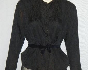 ON SALE Vintage Edwardian Victorian Era Lace Mourning Skirt Silk Blouse Small Steampunk