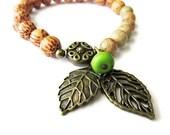 Palm Wooden Stretch Leaf Charm Bracelet , hippie boho bohemian