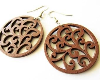 Lightweight Chestnut Brown Wooden Swirl Dangle Earrings | Hippie Boho Style Jewellery for Women |Everyday Wear Earrings |Fashion Accessories