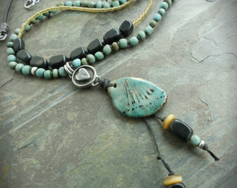 Turquoise Wing Ceramic Bohemian Necklace with Leather