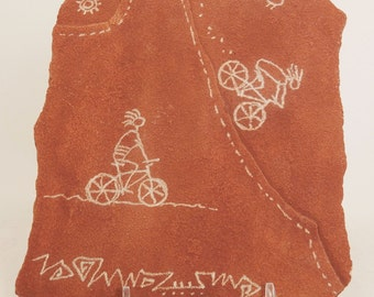 Extreme Downhill Ride- Mountain Biking the Red Rock, Hand Etched Rock Petroglyph