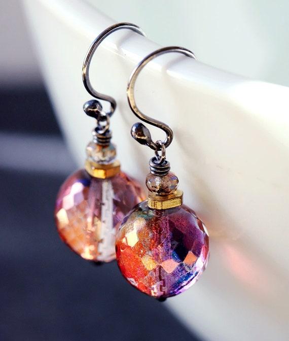 Short Bead Earrings | Aurora Borealis | Gift for Mom | Lavender Glass | Czech Glass Earrings | Sterling Silver | Short Boho Earrings