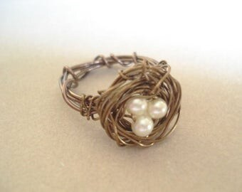Bird Nest Ring Pearl Brass Wire Wrapped Ring Bird Nest Ring Bird Nest Jewelry