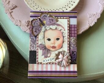 Purple Baby Card - Vintage-style Baby Girl Card - Handmade Baby Card