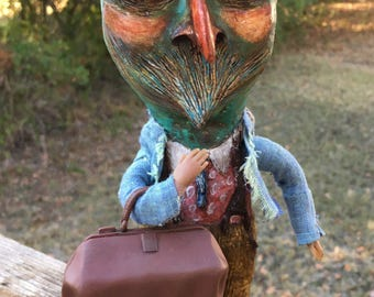 Folk Art Doll Paper mache Doll Unique bird man traveling man Outsider art doll vessen doll SALE!