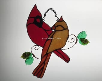 Cardinals Suncatcher in Stained Glass