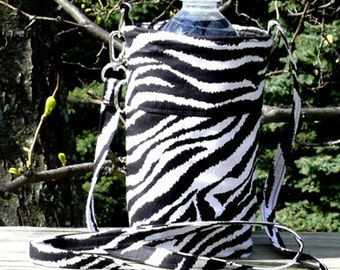 Black White Zebra Animal Print - Water Bottle Cozy, Pop Holder, Sling, Drink Cozie