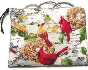 Padded Zipper Cosmetic Pouch in Summer Cardinals Nest Eggs Bird Print