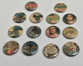 Custom listing for Caballero15 UPCYCLED vintage Batman and Wonder Woman comic RECYCLED into 1 inch buttons