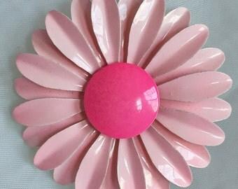 Vintage Pink Flower Power Brooch - 1960