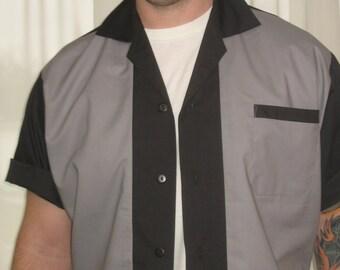 Men's Rockabilly Shirt Jac Grey & Black