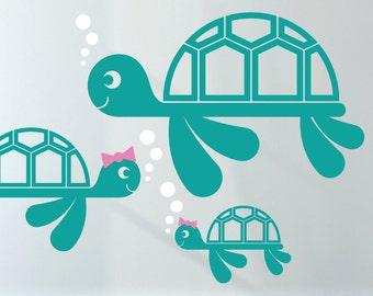 Sea Turtle Wall Decal Ocean Baby Nursery Turtle Theme Underwater Nautical Aquarium Under the Sea Beach Kids Room