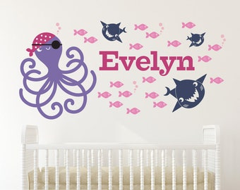 Pirate Octopus Name Wall Decal: Personalized Cute Pirate Ocean Baby Nursery Fish Sharks Boy Girl Under the Sea Nautical Underwater Theme