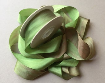 1 metre of 25mm silk ribbon (colour V108 variegated green/brown)