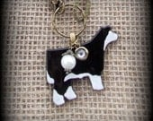 """Glass  Black Baldy Show Steer Cattle Heifer on Long Boho Style leather & Bead Chain  Necklace approx 32"""""""
