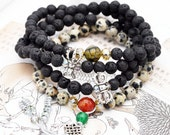 Reserved - Pacifying 108 small japa mala (SJM) - lava, dalmatian jasper, agate, and quartzite.