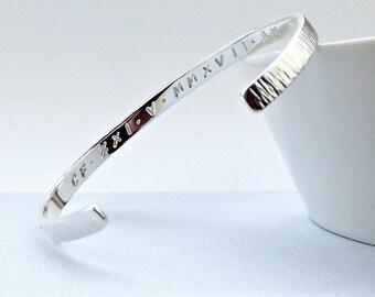 Sterling Silver Cuff Bracelet - Roman Numerals - silver cuff-silver bangle-custom cuff-custom bangle-personalised cuff-personalised bangle