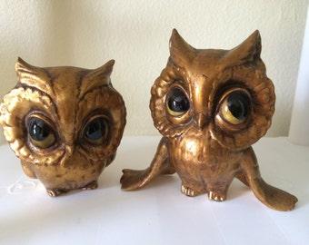 Freeman McFarlin Owl Figurines, Set of Two Gold Leaf Owls