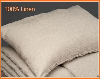 100% Linen Pillow Case. Soft Natural Grey Linen Cushion Cover. Washed Linen Pillow Shams. Organic Flax Bedding / Decorative Pillows / Lumbar