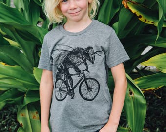 Bee on a Bicycle- Kids T Shirt, Children Tee, Handmade graphic tee, sizes 2-12