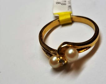 Ring Genuine Pearls and Austrian Crystal   Vintage  You and Me made by RSC Covenants Company Vintage from 1970s